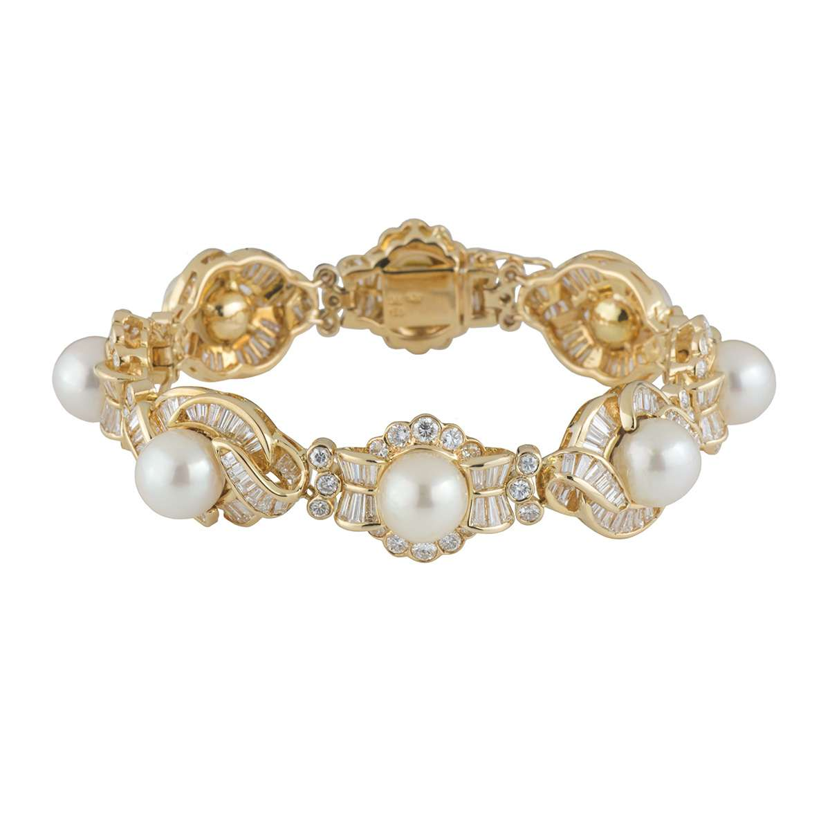 Yellow Gold Diamond and Pearl Bracelet